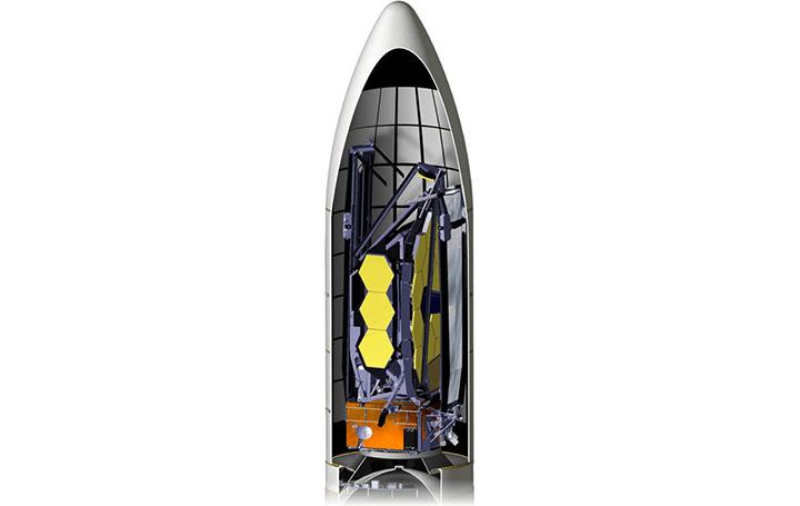 NASA、最大の宇宙望遠鏡を折りたたんで打ち上げる!? ジェイムズ・ウェッブ宇宙望遠鏡をロケットに格納、…