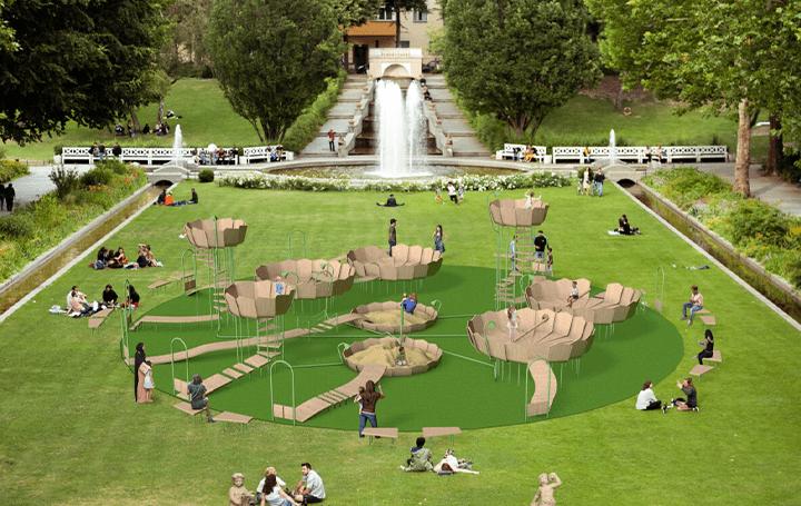 安全な距離を確保して楽しめる遊び場 ドイツデザイナーと心理学者が提案するコンセプト公園「Rimbin」