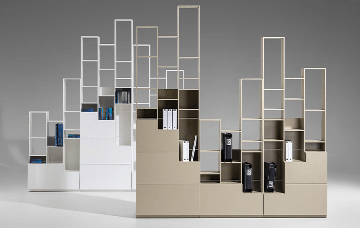 都会の高層ビルを思わせるシェルフシステム「Sfumato」 スペースに合わせて形状を自由に調整