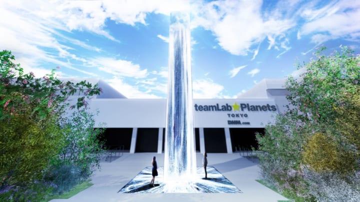 チームラボの新作品、水にまつわるデジタルインストレーション 「空から降り注ぐ憑依する滝」が東京・豊洲…