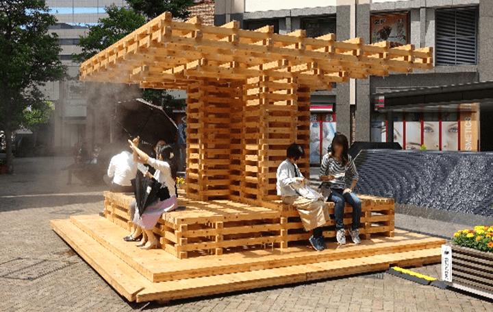 真夏の屋外を快適に過ごせる街づくり 木製エコ・クールスポット「COOL TREE LITE」が試験運転