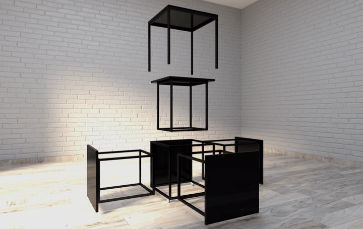 立方体の構造を利用してスペースを有効活用 形を変えられるモジュール式テーブル