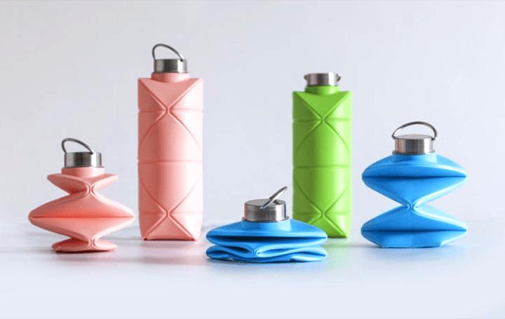 デザインスタジオDiFOLDが手がける折りたたみ式 リユースボトル「Origami Bottle」