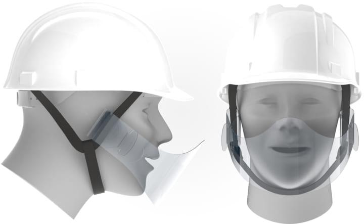 夏場の工場や作業現場でも安心して使えるフェイスシールド 作業用ヘルメットに装着する「マウスシールド」…