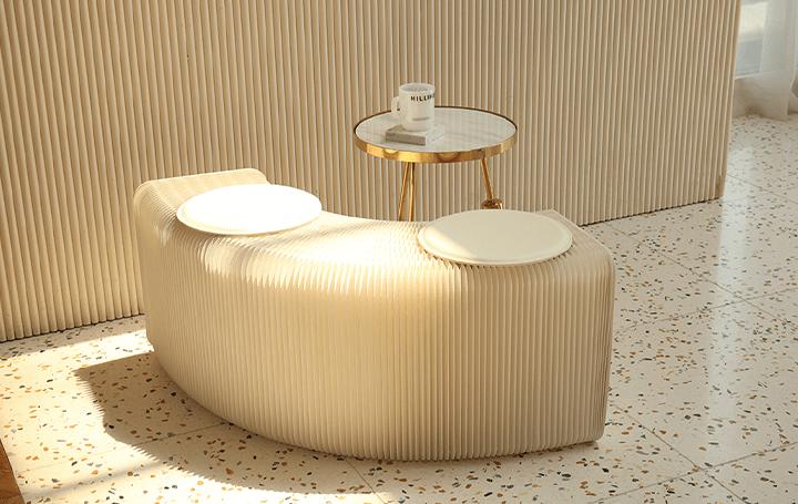椅子にもテーブルにも変形できるハトロン紙製の マルチタイプ家具「ペーパーベンチ」が登場