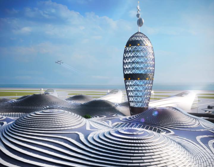 近未来の商業宇宙旅行ハブとなる複合商業空港 Noizなどによる「スペースポートシティ構想図」