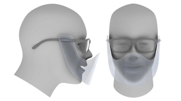 キュリオ、香川大学創造工学部と共同で メガネに装着する「マウスシールド」を考案