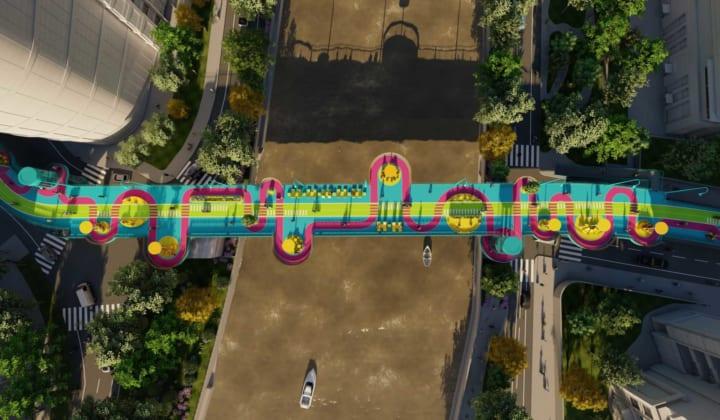 中国の建築事務所100architectsが考案した「High Loop」 全長1kmの橋を大胆で明るい空間にデザイン