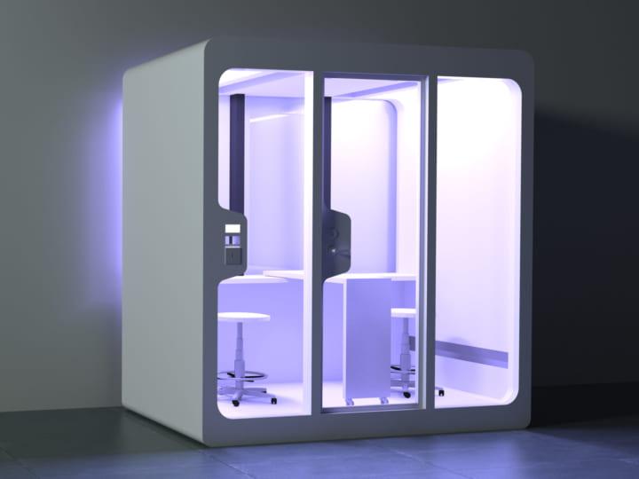 殺菌灯と光触媒による除菌システムを実装した 3平米可動式個室「BlueBox」