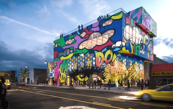 デトロイトのウォールアート文化を継承する MVRDVが設計する複合ビル「Glass Mural」
