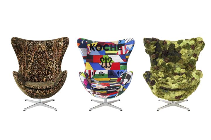 川島織物セルコンとファッションデザイナーによる フリッツ・ハンセンのエッグチェアにファブリックを張り…