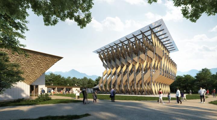 隈研吾設計が設計、木の葉をイメージした 「CLTパビリオン」が岡山・真庭に移築