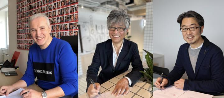 ▲左:iF Design Award CEOラルフ・ウィーグマン, 中央:DSA会長 鈴木恵千代,右:JCD理事長 窪田茂 契約締結時写真