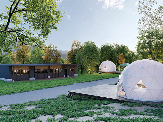 山梨県都留市に大型ドームテントタイプの グランピング施設「THE FOREST」オープン