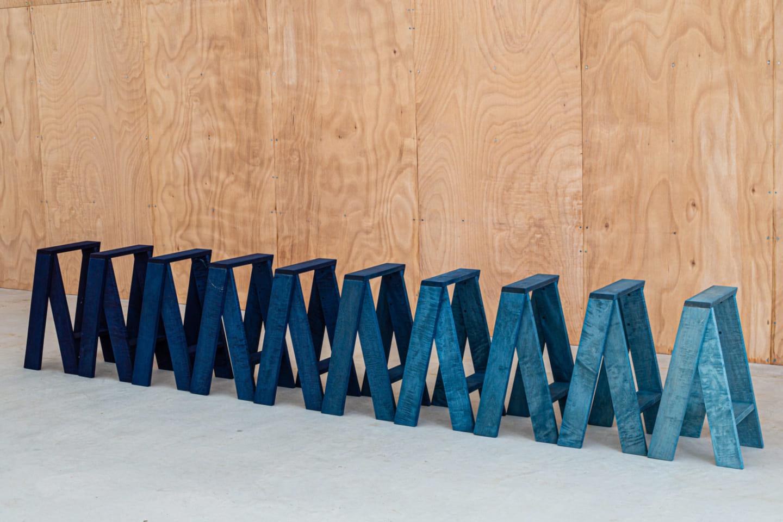 石巻工房 by Karimokuのスツールを 藍染めした「AA STOOL DYED BY BUAISOU」