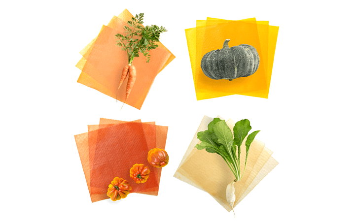 規格外の野菜をシート状にした カラフルな「ベジート」